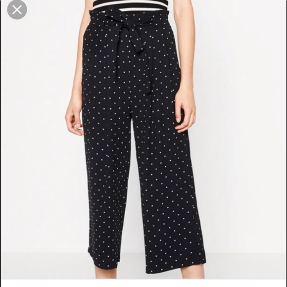 2603d15c0f Zara Pants | Polka Dot Culottes Size Medium Black | Poshmark